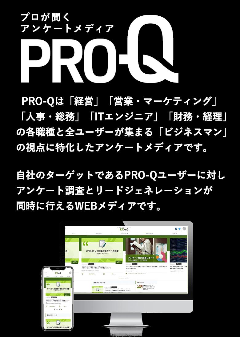 PRO-Q PRO-Qは「経営」「営業・マーケティング」「人事・総務」「ITエンジニア」「財務・経理」の各職種と全ユーザーが集まる「ビジネスマン」の視点に特化したアンケートメディアです。自社のターゲットであるPRO-Qユーザーに対し、アンケート調査とリードジェネレーションが同時に行えるWEBメディアです。